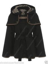 Cappotti e giacche da donna ponchi neri con bottone automatico