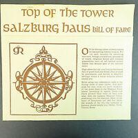 Vintage Top of the Tower Restaurant Menu - Kansas City, MO Salzburge Haus