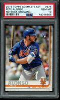 2019 Topps Complete Set Pete Alonso RC #475 PSA 10 Gem Mint Card No Sock Showing