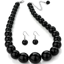 Black colour graduated bead choker necklace and earring set costume jewellery