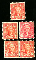 US Stamps # 561 F-VF OG NH Lot of 5 Catalog Value $125.00
