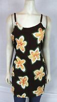 Bali Girl Brown Orange Floral Beach Cover Tunic Top Women's Size Medium Large