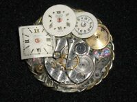 """Vintage Watch Part Brooch~Handcrafted/Signed~1.5"""" Diameter"""
