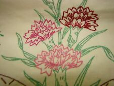 "VTG EMBROIDERY FLOWERS UNBLEACH COTTON DRESSER SCARF TO FINISHED 12"" BY  38"""