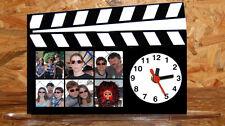 Horloge de bureau style clap cinema personnalisée 6 photos de votre choix