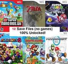 Nintendo Wii SD File 12 Game Cheat Saves inc Mario, Zelda, Pokemon, Mario Kart +