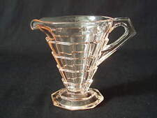Mini Creamer TEA ROOM PINK Indiana Glass Depression Art Deco Cream Pitcher EUC