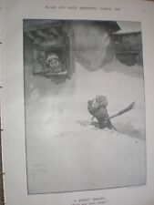 A Knight Errant Sweep your snow ma'am? Lawson Wood 1908 old cartoon print