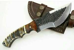 HANDMADE FULL TANG DAMASCUS TRACKER KNIFE WITH RAM HORN HANDLE & LEATHER COVER