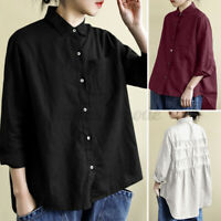 Womens Long Sleeve Solid Cotton Linen Button Down Shirt Casual Loose Tops Blouse