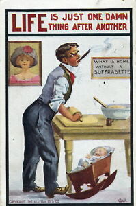 Vintage Wall Postcard Husband of a Suffragette Ullman Mfg 1911 Cooking