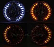 "7"" Crystal Clear White LED Angel Eye Drl Halo Amber Turn Signal Bulb Headlight"