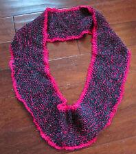 "Women's Handmade Boho Hippy Crochet Pink Knit Cowl Inifinity Scarf 30"" Long"