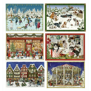 A set of 6 very mini Victorian advent Advent miniature cards Coppenrath 8.5x6cm