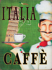 Italia Caffe, Metal Retro Sign/Plaque wall Gift, Present, Cafe