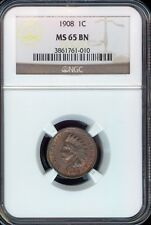1908 Indian Head Cent Grade by NGC BN MS65 BEAUTIFUL TONING..