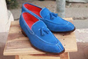 Handmade Men Blue Suede Split Toe Tassels Loafer Shoes, Men Designer Dress Shoes