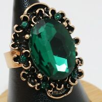 Sparkling 4 Ct Oval Green Emerald Ring Women Jewelry 14K Rose Gold Plated