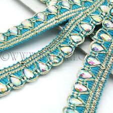 Turquoise Fabric Rhinestone beads Trim Rhinestone trimming,edging,Embellish ment