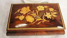 Vintage Music Box Jewelry Wood Flowers Footed Wood Inlay Pretty VGUC Sorrento