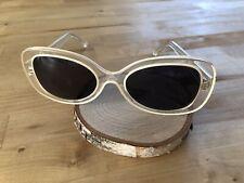 Vtg 70s Eyevan Mod GoGo Crystal White Sunglasses Made In Japan Kurt Cobain