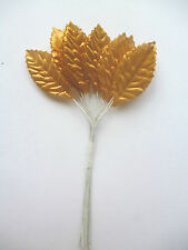 5 x Bunches 12 Gold  Silk Artificial leaves on stems (60) leaves