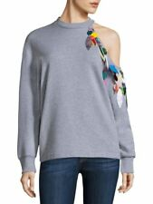 $705 Christopher Kane Cold-Shoulder Sweatshirt Grey Women's Size S Small