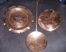 Vintage Mid 1900's Weeda Tasmania Copperware (3) Ladle , Plate & Plaque.