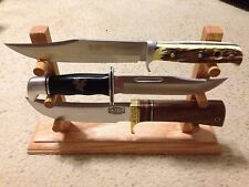 Handmade Solid Oak 3 Fixed Blade Knife Display Stand
