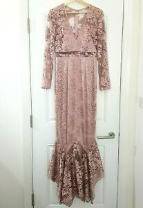 ASOS Maeve Lace Embroidered Maxi Fishtail Gown Dress UK 10 Wedding Prom