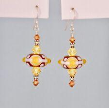 *IAJ* STERLING SILVER Earrings w/TOPAZ LAMPWORK BEADS & SWAROVSKI CRYSTALS