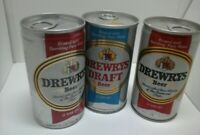 Drewrys Beer and Draft Beer cans metal pull tab Open at bottom 3 different style