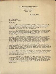 1923 Dallas Texas (TX) Letter Dallas Highway Map Company Zeno Cox