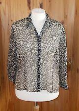 EASTEX oatmeal cream beige black chiffon 3/4 sleeve blouse shirt tunic top 20 4