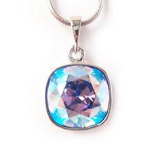 Sky Blue Shimmer AB Crystal Drop Necklace w/ 12mm Swarovski Cushion Cut Pendant