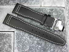 New Black Calf Leather Strap Watch Band Buckle SET IWC TOP GUN PILOT 20mm x1