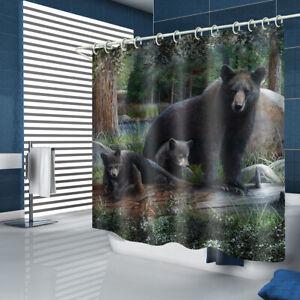 Black Bear Shower Curtain Bathroom Rug Set Bath Mat Non-Slip Toilet Lid Cover