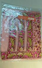 Scarf pure silk India vintage! unique SILKSCREEN handmade authentic 80s vtg pink