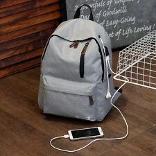 Women USB Charging Canvas School Bag Casual Laptop Backpack Bookbag Girl Mochila