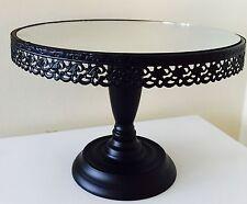 Round Mirror Cake Stand Wedding Black Metal Plinth Vintage Shabby Centrepiece 2n