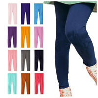 Girls Cotton Rich Leggings Soft Stretch Trousers Kids Pants Jeggings Size