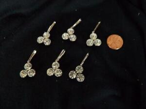 Lot 6 Pcs Fashion Jewelry Crystal Rhinestone Silver Toned Charms Pendant