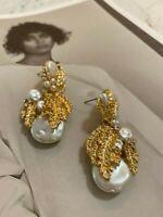 Latoir Instagram Blogger Gold Pearl Leaf Bead Drop Minimalist Statement Earrings