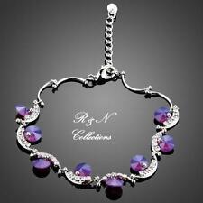 Platinum Plated Made W/Purple Swarovski Austrian Crystal Charm Bracelet B649-32