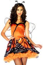 83817 Sexy Costume da Farfalla Vestito Vaporoso Arancione e Nero con Stampa Ali