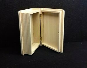 Wooden Box in Shape of Book Storage Keepsake Memory Chest Craft Decoupage Boxes