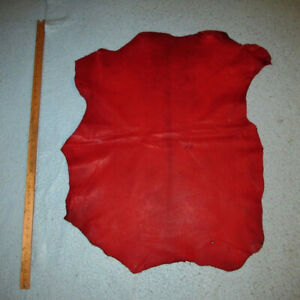 Super Thin Soft Red 'Old West' Sheepskin Leather Hide