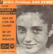 """GIGLIOLA CINQUETTI – Non Ho L'Eta (EUROVISION 1964 VINYL SINGLE 7"""" BELGIUM PS)"""