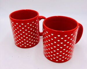 """Pair Coffee Mugs - Red Hearts - produced by Waechtersbach W. Germany - 4"""" Tall"""