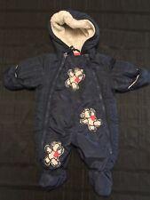 Rothschild Baby Boy Teddy Bear Embroidery Closed Feet Hooded Snowsuit 3-6M
